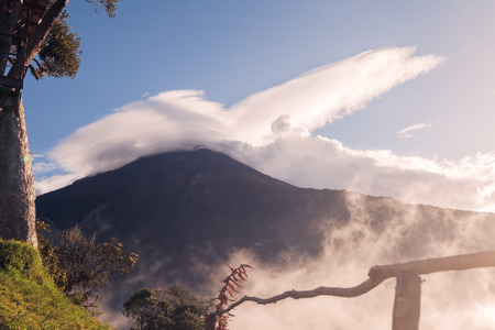 strombolian: Tungurahua Volcano Erupting In The Sunset, Ecuador, South America