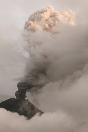 tungurahua: Close-Up Of Tungurahua Volcano Powerful Sunset Explosion, February 2016, South America
