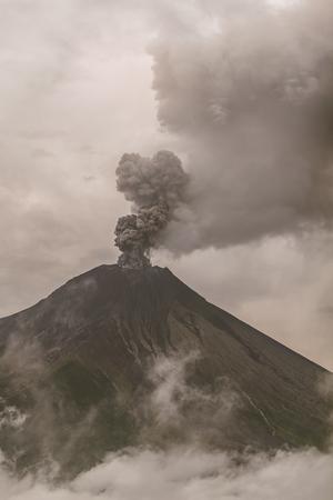 vulcanology: View Of Tungurahua Volcano Powerful Explosion At Sunset, South America Stock Photo