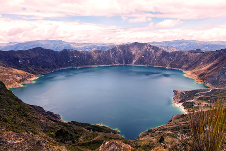 cordillera: Quilotoa Lake, Water Filled Caldera That Was Formed By The Collapse Of The Volcano, South America
