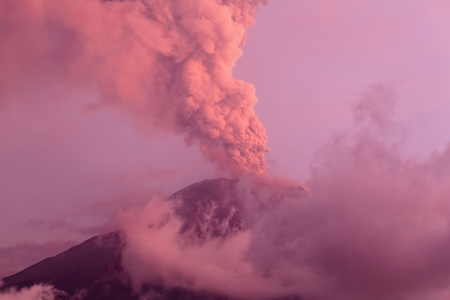 tungurahua: Powerful Eruption Of Tungurahua Volcano At Sunset, Ecuador, South America Stock Photo