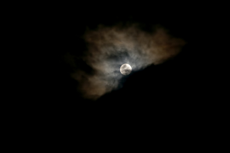 lunar eclipse: Night Cloudy Sky With Full Moon And Clouds, Lunar Eclipse