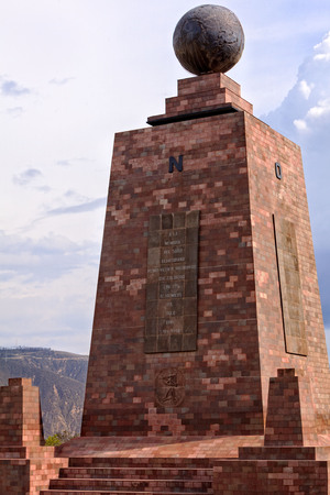 equator: Monument Marks The Point Through Which The Equator Passes, The Pyramidal Monument, With Each Side Facing A Cardinal Direction Is Topped By A Globe Which Is 4.5 Meters In Diameter And Weighs 5 Tons