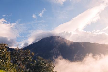 cordillera: Tungurahua Volcano Sunset Explosion View From Casa Del Arbol, Ecuador