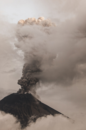 eruptive: Tungurahua Volcano Spews Smoke And Ash In Fiery Eruption, February 2016, South America