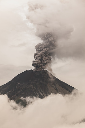 eruptive: Tungurahua Volcano Fiery Eruption, February 2016, South America Stock Photo