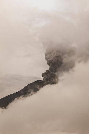 Tungurahua Volcano Spews Columns Of Ash And Smoke, February 2016, South America Stock Photo