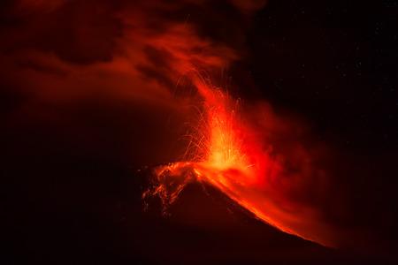 Tungurahua Volcano Spews Hot Lava And Ash At Night, February 2016, South America Stock Photo