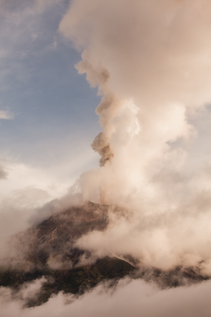 eruptive: Tungurahua Volcano, Strong Vulcanian Explosion At Sunset Produce Ash Plume, February 2016, Ecuador, South America