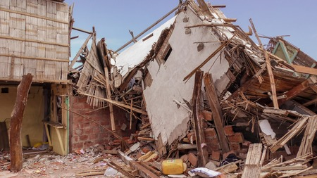 Ecuadorian Village Houses Destroyed By The April 16Th 2016 Earthquake Measuring 7.8 On The Richter Scale, South America Stock Photo