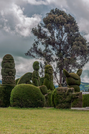 The Cemetery Of Tulcan Known For Elaborately Trimmed Cypress Bushes Inspired By Roman, Incan, Aztec And Egyptian Themes