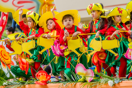 regional: Banos De Agua Santa, Ecuador  - 29 November 2014 : Beautiful Group Of Latin American Kids Celebrating Carnival On City Streets Of Banos De Agua Santa, South America In Banos De Agua Santa On November 29,