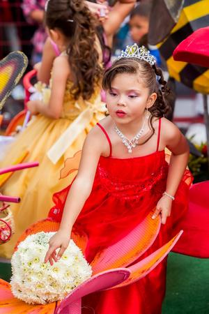 princes street: Banos De Agua Santa, Ecuador  - 29 November 2014: Latin Girl Dressed Like A Princess Walking In A Carriage Through The Streets Of South America In Banos De Agua Santa On November 29,