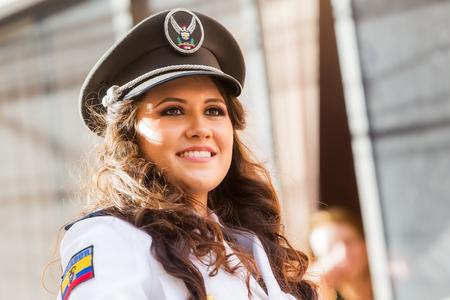 prefix: Banos De Agua Santa, Ecuador - 29 November 2014 : Portrait Of Young Woman Wearing The Uniform Of Navy In Banos De Agua Santa On November 29, Editorial