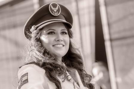 prefix: Banos De Agua Santa, Ecuador  - 29 November 2014: Black And White Portrait Of Young Woman Wearing The Uniform Of Navy In Banos De Agua Santa On November 29,