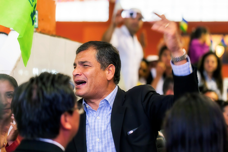 meant: Banos, Ecuador - 18 June 2015: Rafael Correa, The President Of Ecuador, At A Public Appearance Speaks About Plans And Projects That Are Meant To Develop The Country  In Banos On June 18, 2015