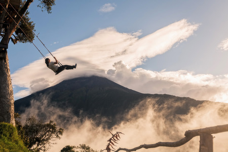 tungurahua: Banos, Ecuador - 25 November 2015: The Unique Location Swing Above Sea Level 2, 600 Meters Offers Visitors A Beautiful And Terrifying View Of The Tungurahua Volcano In Banos On November 25, 2015