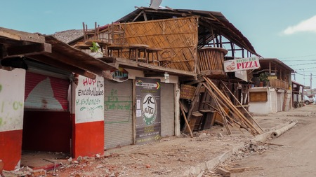 Manabi, Ecuador - 04 May 2016: Collapsed Building After Earthquake Disaster In Ecuador South America, April 16Th 2016 In Manabi On May 04, 2016 Editorial