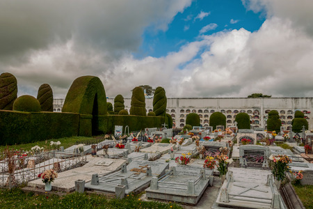 Tulcan, Ecuador  - 10 julio 2011: The Cemetery Of Tulcan Was Founded In 1932 To Replace The Old Cemetery, Ecuador, South America, Stringing graves In Tulcan, Ecuador On Julio 10, 2011