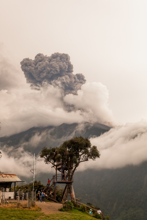 tungurahua: Banos De Agua Santa,  Ecuador- 08 March 2016: Smoke Rises From Tungurahua Volcano, March 2016, Powerful Explosion, View From Casa Del Arbol, The Tree House, Ecuador, South America In Banos De Agua Santa On March 08, 2016