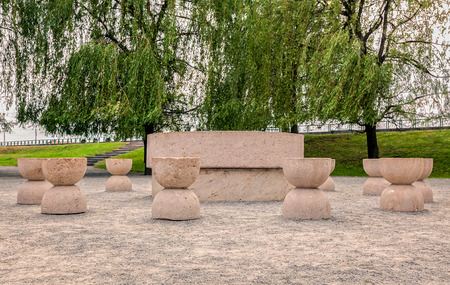 architecture monumental: Table Of Silence Is One Of The Three Pieces Of Targu Jiu Monumental Ensemble Of The Romanian Sculptor Constantin Brancusi, East Europe Architecture Stock Photo