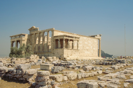 caryatids: Famous Ancient Porch Of The Caryatids At The Temple Of Erechtheion Overlooking Athens, Greece Stock Photo