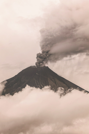 tungurahua: Tungurahua Volcano Eruption February 2016, Ecuador Stock Photo