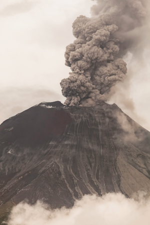 eruptive: Tungurahua Volcano Spews Smoke And Ash In Fiery Eruption, February 2016, Ecuador