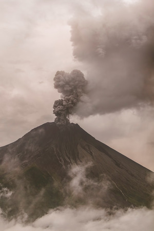 Tungurahua Volcano Surrounded In Clouds Full Of Ash And Smoke, February 2016, Ecuador