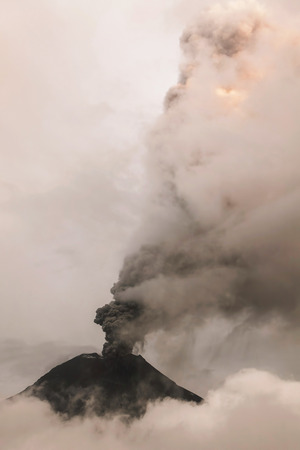 tungurahua: Tungurahua Volcano Spews Columns Of Ash And Smoke, Ecuador