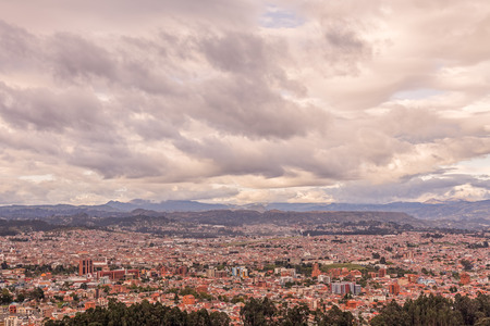 conquistador: Aerial View Of Cuenca City, The Capital Of The Azuay Province, South America, Cloudy Day