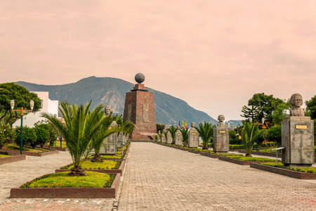 Middle Of The World Monument, Mitad Del Mundo, One Of The Most Visited By Tourists Near Quito, Ecuador Stock Photo