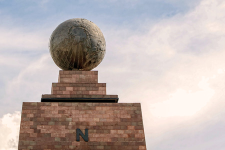 0 geography: Middle Of The World Monument, Mitad Del Mundo, North Side Line Monument Near Quito, Ecuador Stock Photo