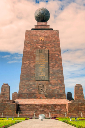 0 geography: Middle Of The World Monument, Mitad Del Mundo, North Side Line Monument Near Quito, Ecuador, South America Stock Photo