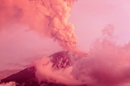 tungurahua: Tungurahua Volcano Eruption At Sunset, Ecuador, South America
