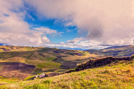 terracing: Green Fields Aerial View, Cordillera Occidental, Andes, Central Ecuador, Near The Tungurahua Volcano, Ecuador, South America