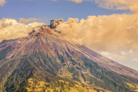 tungurahua: Large Ash Cloud Rising From Tungurahua Volcano, Cordillera Occidental Of The Andes Of Central Ecuador, South America