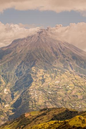 Tungurahua Volcano Smoking, Aerial View, Ecuador, South America  Stock Photo