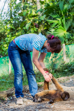 Beautiful European Tourist Woman Playing With A Monkey On The Rescue Center, Ecuador, South America