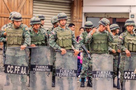 fatigues: Banos De Agua Santa, Ecuador - 23 June,  2016: Ecuadorian Army Welcoming To The President Of The Ecuador In Banos De Agua Santa, Ecuador, South America