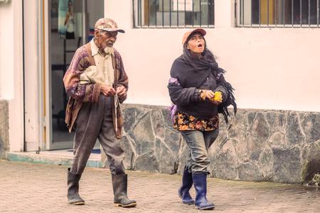 Banos De Agua Santa, Ecuador - 23 June, 2016: Ecuadorian People Walking On The Streets Of Banos De Agua Santa, Ecuador, South America In  On   ,
