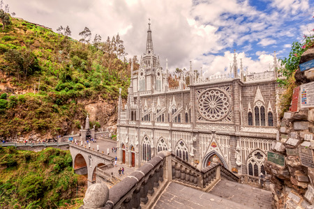 Las Lajas Colombian Catholic Church, Built Between 1916 And 1948 Is A Popular Destination For Religious Believers From All Part Of Latin America Editorial