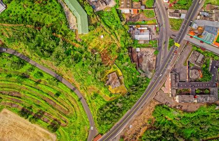 Captivating Aerial View Of Banos De Agua Santa, Tungurahua Province, South America