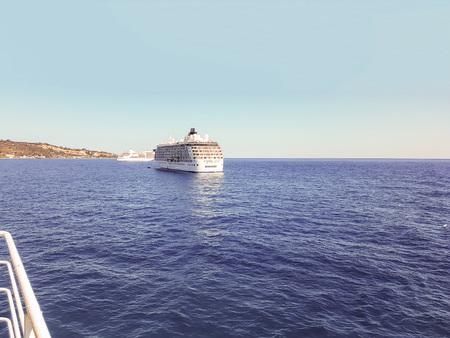 The Mediterranean Sea With Cruise Ships, Greece Stock Photo