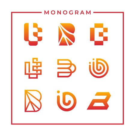 Modern inspirational logo design in line art concept that contain 9 modern letter B style