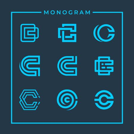 Modern inspirational logo design in line art concept that contain 9 modern letter C style