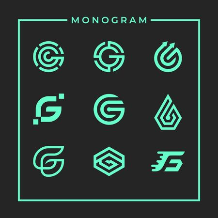 Modern inspirational logo design in line art concept that contain 9 modern letter G style