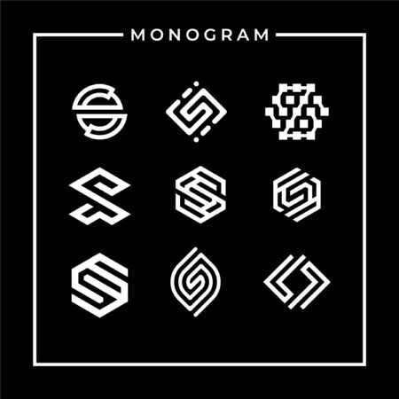 Monogram logo designs that contain 9 kind of monogram logo that make shape of letter s that can be used everywhere