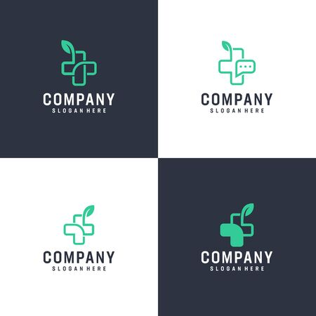 Modern inspirational logo design in line art concept that contain 4 modern medical design