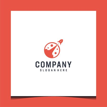 New logo design, bring rocket concept and red colors, very editable and suit to be placed everywhere Illustration